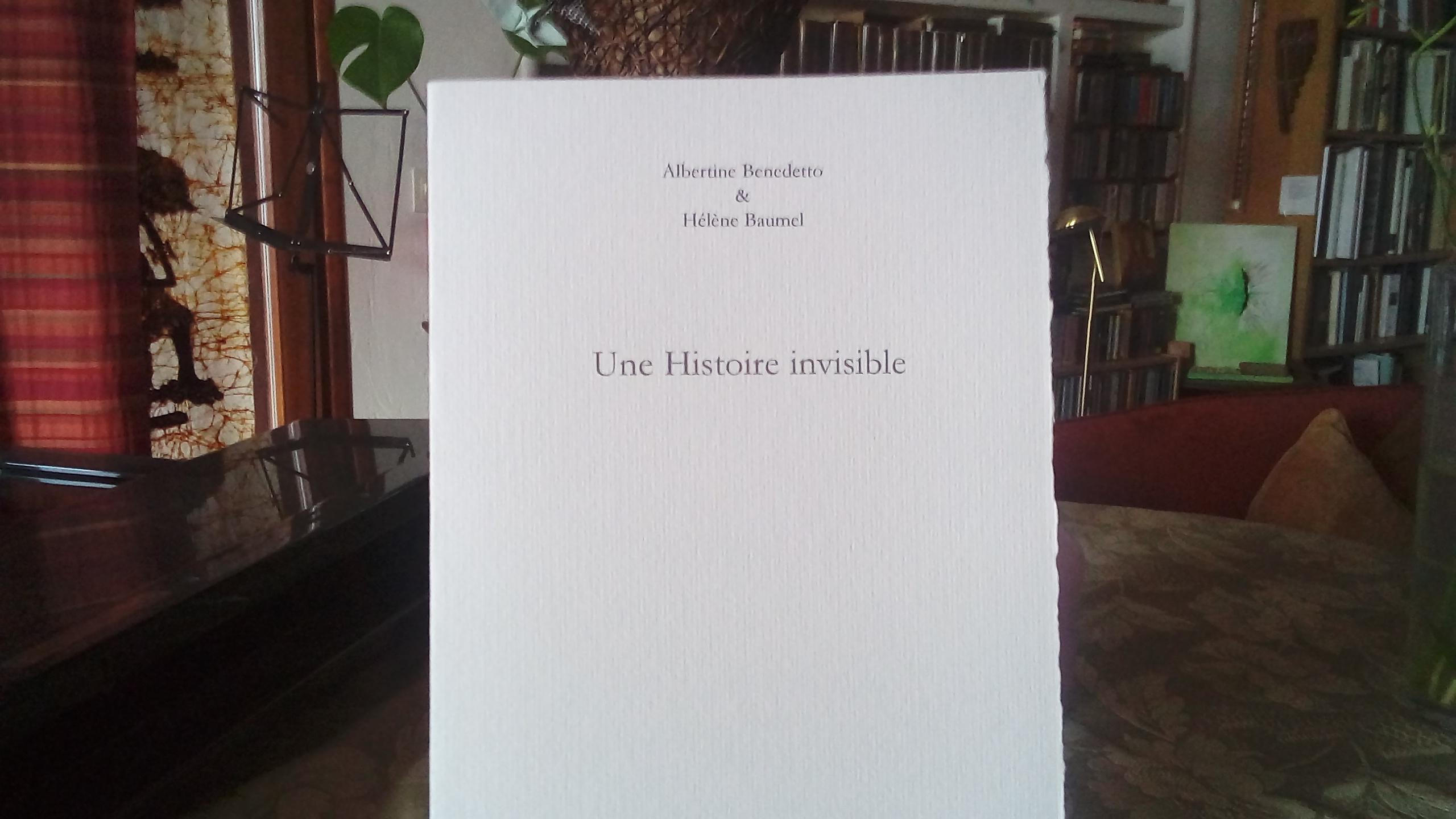 Livre d'artiste réalisé par Hélène Baumel sur un poème d'Albertine Benedetto, aux Cahiers du museur d'Alain Freixe, 2017